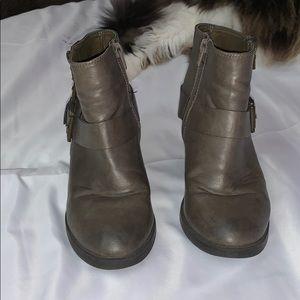 Grey Brown Buckle Up Heels